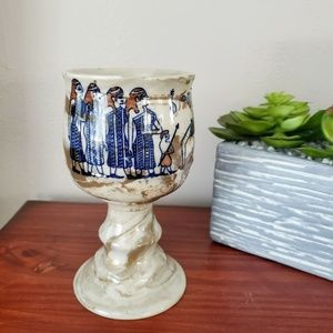 Vintage Cup Pottery Egyptian Revivalist Chalice